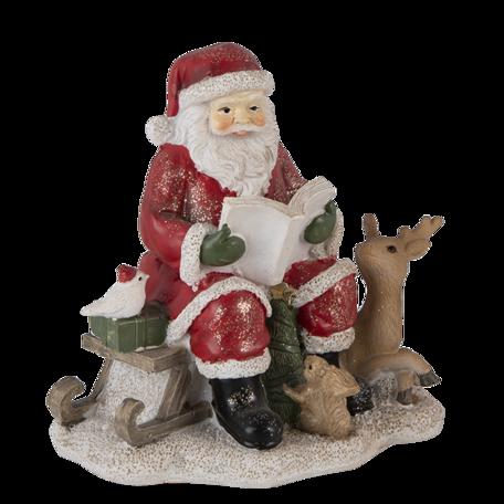 Decoratie kerstman met rendier 14*12*13 cm Multi | 6PR4723 | Clayre & Eef