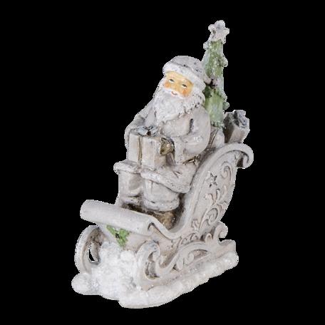 Decoratie kerstman in slee 10*6*13 cm Zilverkleurig | 6PR4727 | Clayre & Eef