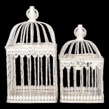 Decoratie vogelkooi (set van 2) 21*21*42 / 18*18*32 cm Bruin | 6Y4278 | Clayre & Eef