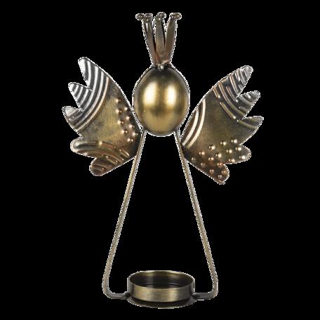 Waxinelichthouder 17*6*25 cm Zilverkleurig   6Y4592   Clayre & Eef