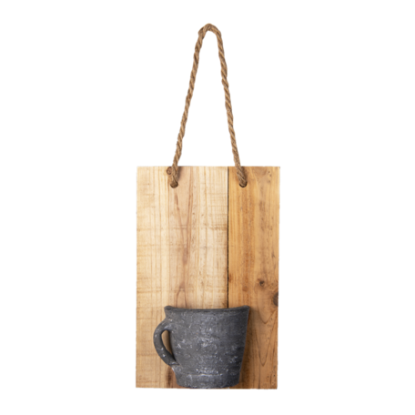 Decoratie broodplank met potje 18*11*28 cm Bruin | 6H2045 | Clayre & Eef
