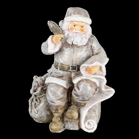 Decoratie kerstman met rendier 10*7*13 cm Zilverkleurig | 6PR4726 | Clayre & Eef
