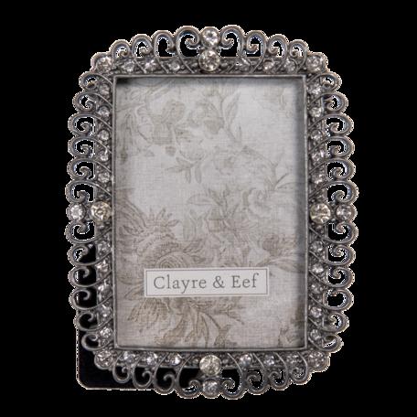 Fotolijst 9*2*11 cm / 6*9 cm Zilverkleurig | 2F0799 | Clayre & Eef