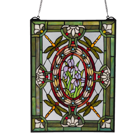 Glaspaneel Tiffany 46*61 cm Groen | 5LL-6091 | Clayre & Eef