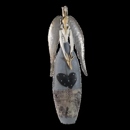 Decoratie engel 28*11*81 cm Zilverkleurig | 5Y0943 | Clayre & Eef