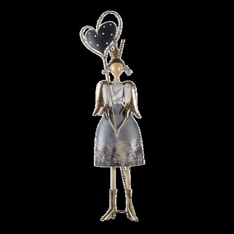 Decoratie beeld meisje 25*13*87 cm Zilverkleurig   5Y0945   Clayre & Eef