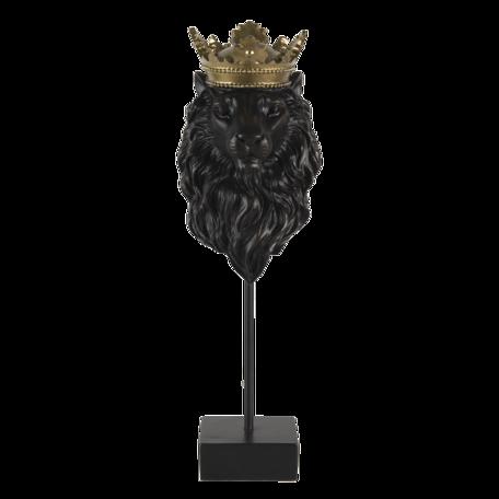 Decoratie leeuw 14*13*40 cm Zwart | 6PR3386 | Clayre & Eef