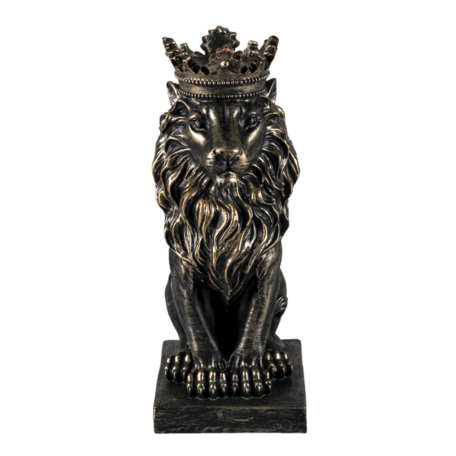 Decoratie leeuw 15*10*25 cm Zwart | 6PR3389 | Clayre & Eef