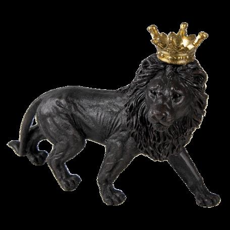 Decoratie leeuw 25*9*17 cm Zwart | 6PR3390 | Clayre & Eef