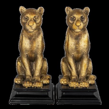 Boekensteun tijger (set van 2) 21*14*23 cm Goudkleurig   6PR3392   Clayre & Eef