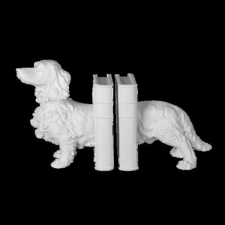 Boekensteun hond (set van 2) 28*12*22 cm Wit   6PR3394   Clayre & Eef