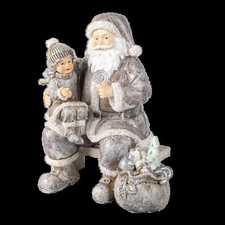 Decoratie kerstman met kind 15*10*16 cm Grijs | 6PR3473 | Clayre & Eef