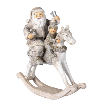 Decoratie kerstman op hobbelpaard 20*8*21 cm Zilverkleurig | 6PR3474 | Clayre & Eef