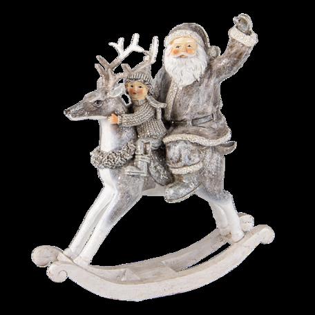Decoratie kerstman op hobbelpaard 20*7*22 cm Grijs | 6PR3475 | Clayre & Eef