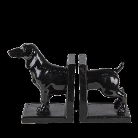 Boekensteun hond (set van 2) 25*9*15 cm Zwart   6PR4623   Clayre & Eef