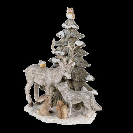 Decoratie katten bij kerstboom 18*10*21 cm Multi | 6PR4648 | Clayre & Eef