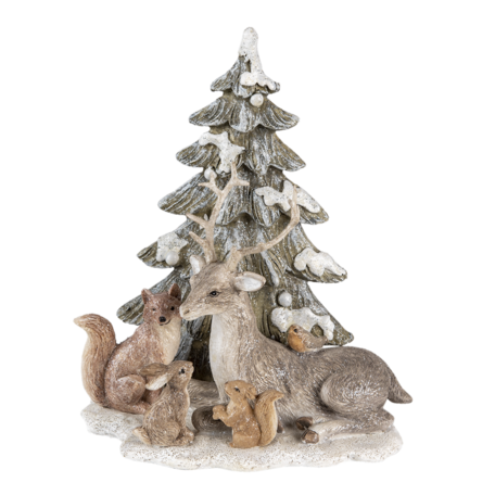 Decoratie katten bij kerstboom 17*10*20 cm Multi | 6PR4650 | Clayre & Eef