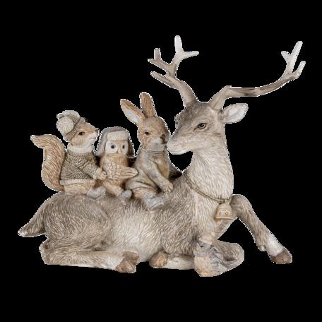 Decoratie dieren 19*10*17  cm Grijs | 6PR4654 | Clayre & Eef