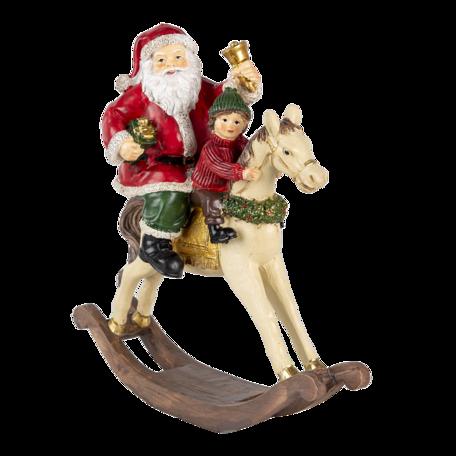 Decoratie kerstman op hobbelpaard 20*8*21 cm Multi | 6PR4712 | Clayre & Eef