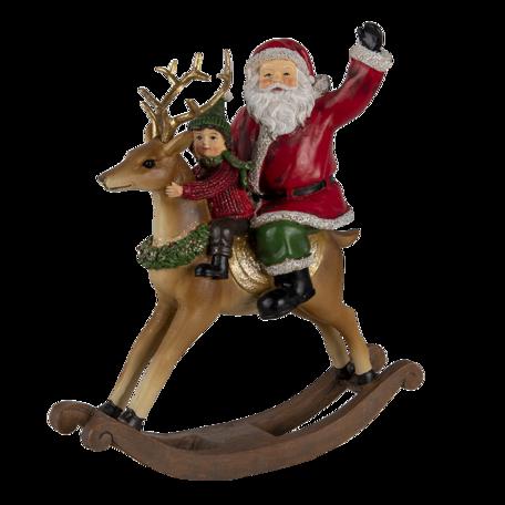 Decoratie kerstman op hobbelpaard 20*7*22 cm Multi | 6PR4716 | Clayre & Eef