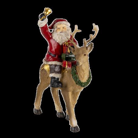 Decoratie kerstman op rendier 16*9*22 cm Multi | 6PR4718 | Clayre & Eef