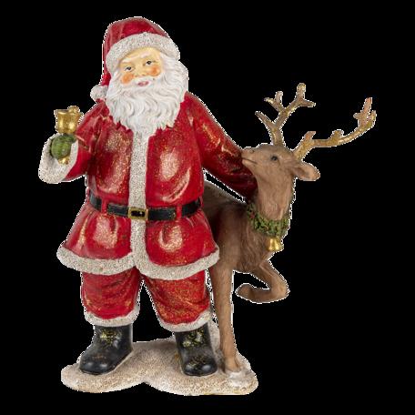 Decoratie kerstman met rendier 19*11*20 cm Multi | 6PR4722 | Clayre & Eef
