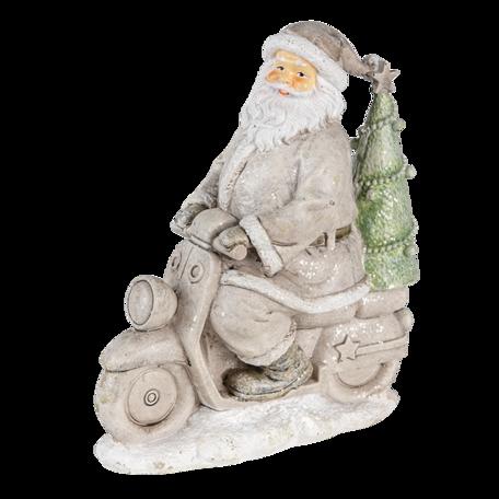 Kerstman op scooter 12*6*14 cm Zilverkleurig | 6PR4725 | Clayre & Eef