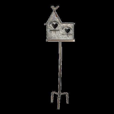 Tuinprikker vogelhuis 24*12*90 cm Grijs   6Y4603   Clayre & Eef