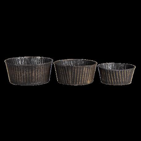Planthouder (set 3) ø 24*11 / ø 21*10 / ø 19*8 cm (set 3) Zwart | 6Y4625 | Clayre & Eef