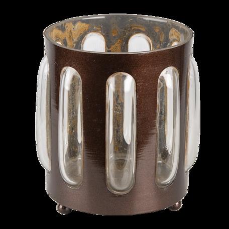 Waxinelichthouder ø 14*13 cm Bruin   6Y4628   Clayre & Eef