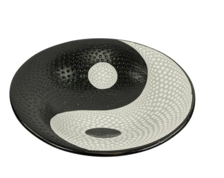 Schaal Yin Yang stippen M 26 x 26 x 7 cm   SA130101  Sarana Fairtrade