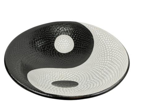Schaal Yin Yang stippen L 37 x 37 x 10 cm   SA130118   Sarana Fairtrade