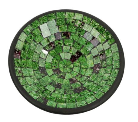 Schaal mozaiek groen L 28 x 28 x 7 cm   SA131962   Sarana Fairtrade