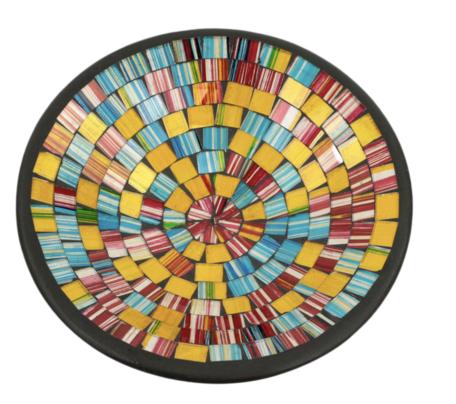 Schaal mozaiek regenboog L 28 x 28 x 7 cm   SA131993   Sarana Fairtrade