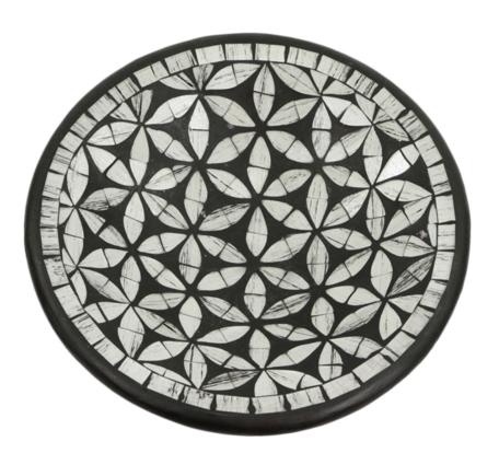 Schaal M mozaïek bloemen rond zwart/grijs 24 x 24 x 6 cm   SA133683   Sarana Fairtrade
