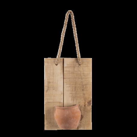 Decoratie broodplank met potje 18*11*28 cm Bruin | 6H2044 | Clayre & Eef