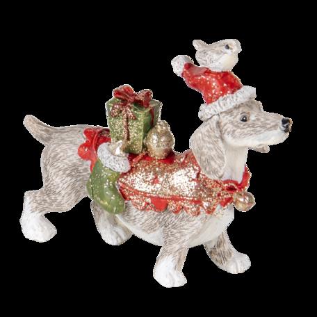 Decoratie hond 9*3*8 cm Multi | 6PR4604 | Clayre & Eef
