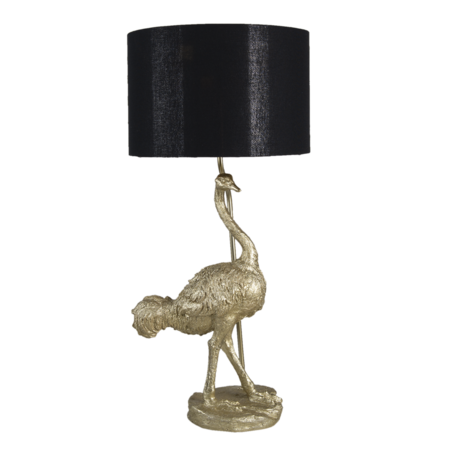 Tafellamp struisvogel 32*30*67 cm E27/max 1*60W Goudkleurig   5LMC0012   Clayre & Eef