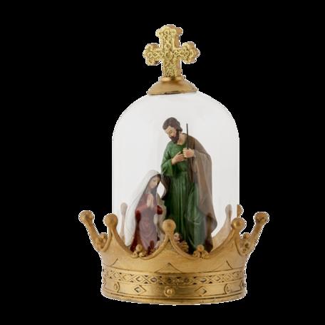 Stolp met decoratie ø 19*27 cm Goudkleurig | 6GL3177 | Clayre & Eef