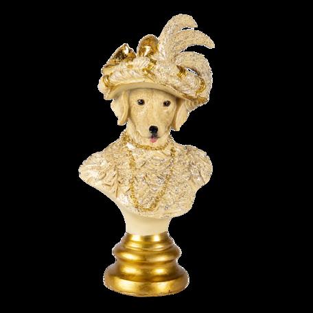 Decoratie hond 10*8*20 cm Goudkleurig | 6PR4616 | Clayre & Eef