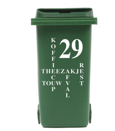 Sticker voor kliko container Restafval met huisnummer | Rosami Decoratiestickers