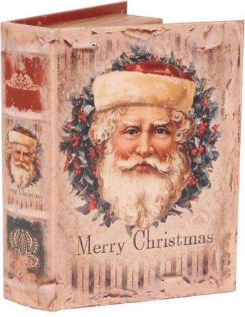 Boekenkluis decoratie boek opbergdoos 5 x 16 x 23 cm Merry Christmas Kerstman  | Dutch Style
