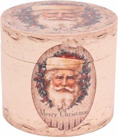 Opbergbox doos rond Ø20 cm Kerstman Merry Christmas mdf PU leerBox Ø20 cm| 10518805 | Dutch Style