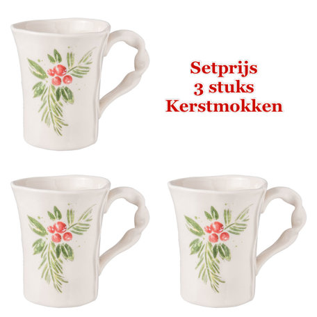 Set 3 stuks Kerst Mok 13*9*11 cm / 300 ml Wit | 6CE0845 | Clayre & Eef