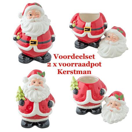 2 delige voordeelset Voorraadpotten kerstman  | 6CE0857 & 6CE0856 | Clayre & Eef