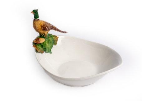 Ovale diepe schaal met fazant op rand 19 x 25 cm | FL45 | Piccobella