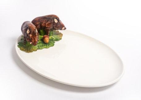 Ovale platte schaal met everzwijnen 37 x 24 cm | FL48 | Piccobella