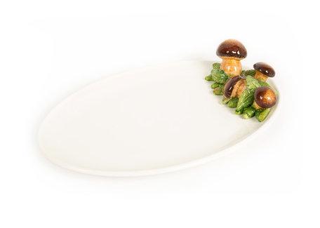 Ovale platte Schaal met cantharellen / paddestoelen 37 x 24 x 9 cm | FL102 | Piccobella