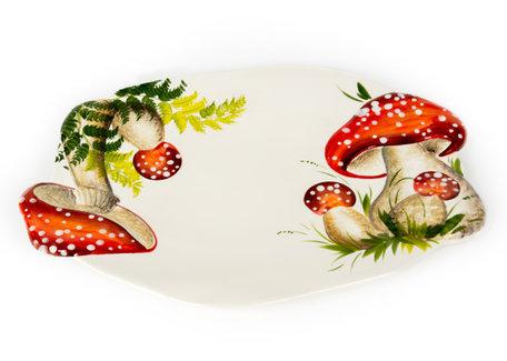 Schaal ovaal paddenstoel rood witte stippen groot 45 x 30 cm | RW05 | Piccobella