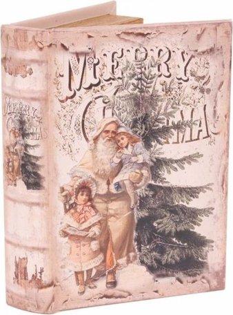 Boekenkluis decoratieboek opbergdoos 23 cm Merry Christmas kerstman met kinderen | 11256811 | Dutch Style